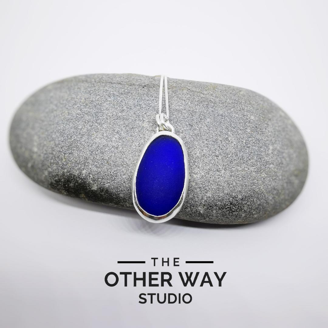 Silver & Sea Glass Pendant & Necklace - Cobalt  Blue large