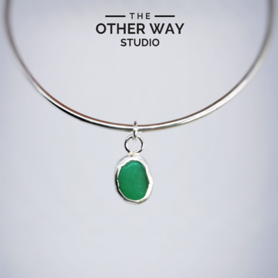 Bangle with Sea Glass Charm - Bottle Green