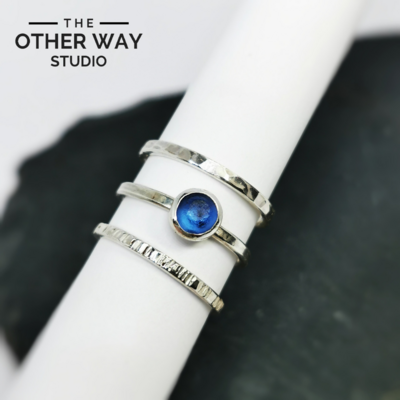 Azure Blue Sea Glass Stacking Rings Set of 3