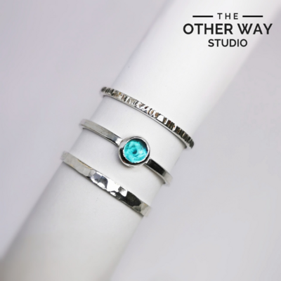 Turquoise Sea Glass Stacking Rings Set of 3