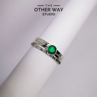 Bottle Green Sea Glass Stacking Rings Set of 3