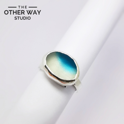 Adjustable Size - Littie Wave - Silver & Sea Glass Ring