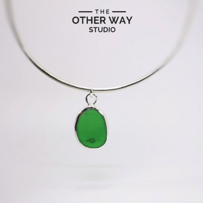 Bangle with Sea Glass Charm - Bottle Green with a Bubble
