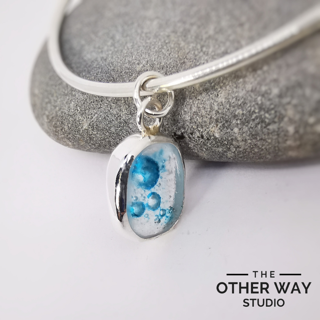 Bangle with Sea Glass Charm - frozen bubbles