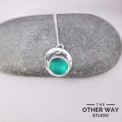 Silver & Sea Glass Textured Circle Pendant & Necklace - Turquoise