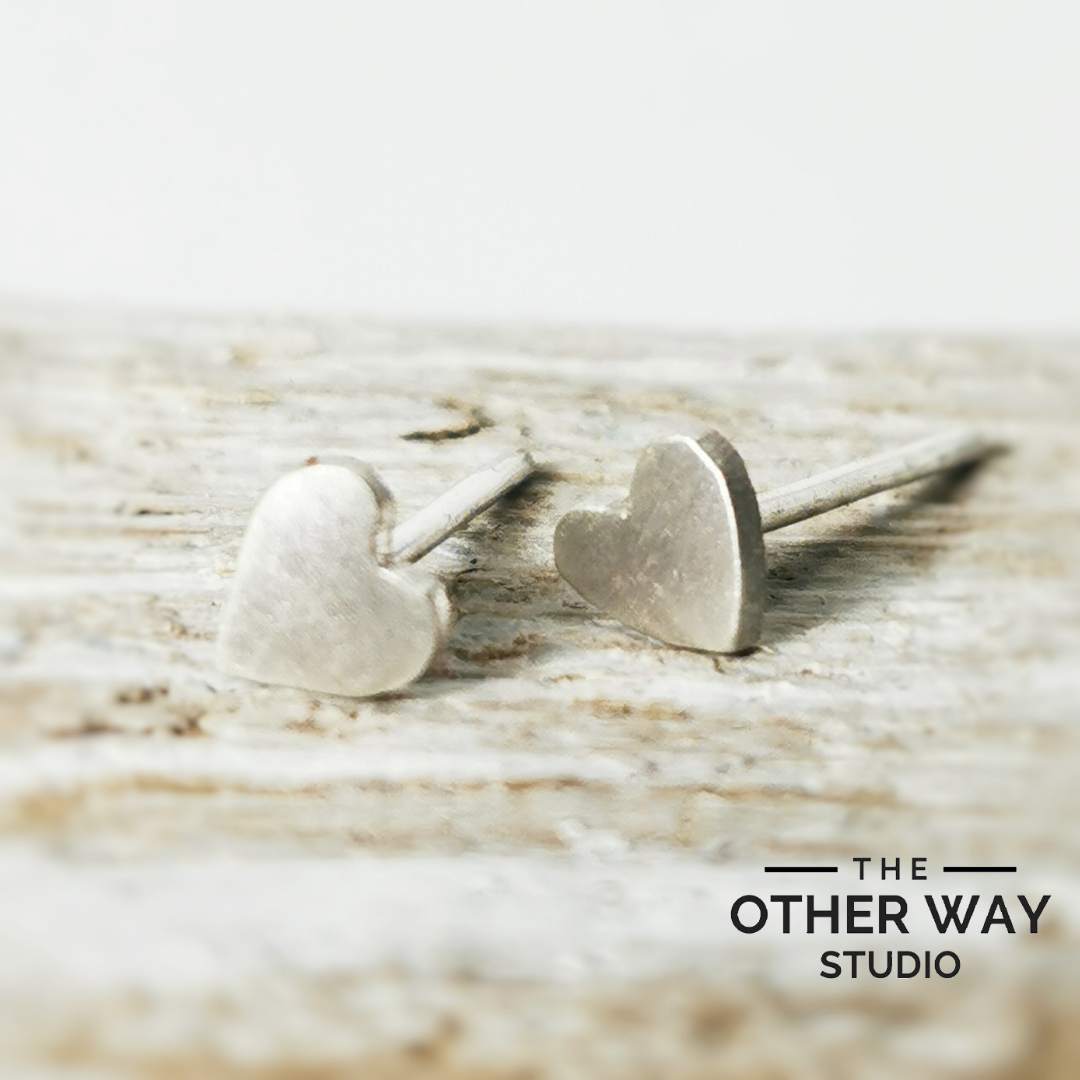 Handmade Recycled Silver Heart Studs - brushed finish