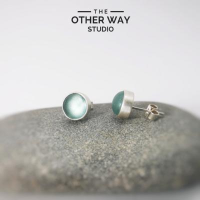 Handmade Silver & Light Turquoise Sea Glass Ear Stud Set
