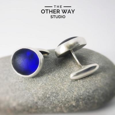 Handmade Silver & Cobalt Sea Glass Cufflinks - Brushed Finish