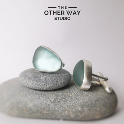 Handmade Silver & Light Turquoise Sea Glass Cufflinks - Brushed Finish