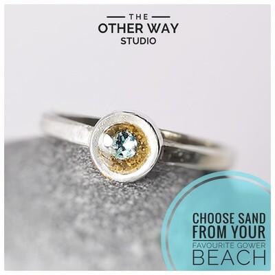 Handmade Silver Ring - Gower Beaches Sand & Swarovski Crystal