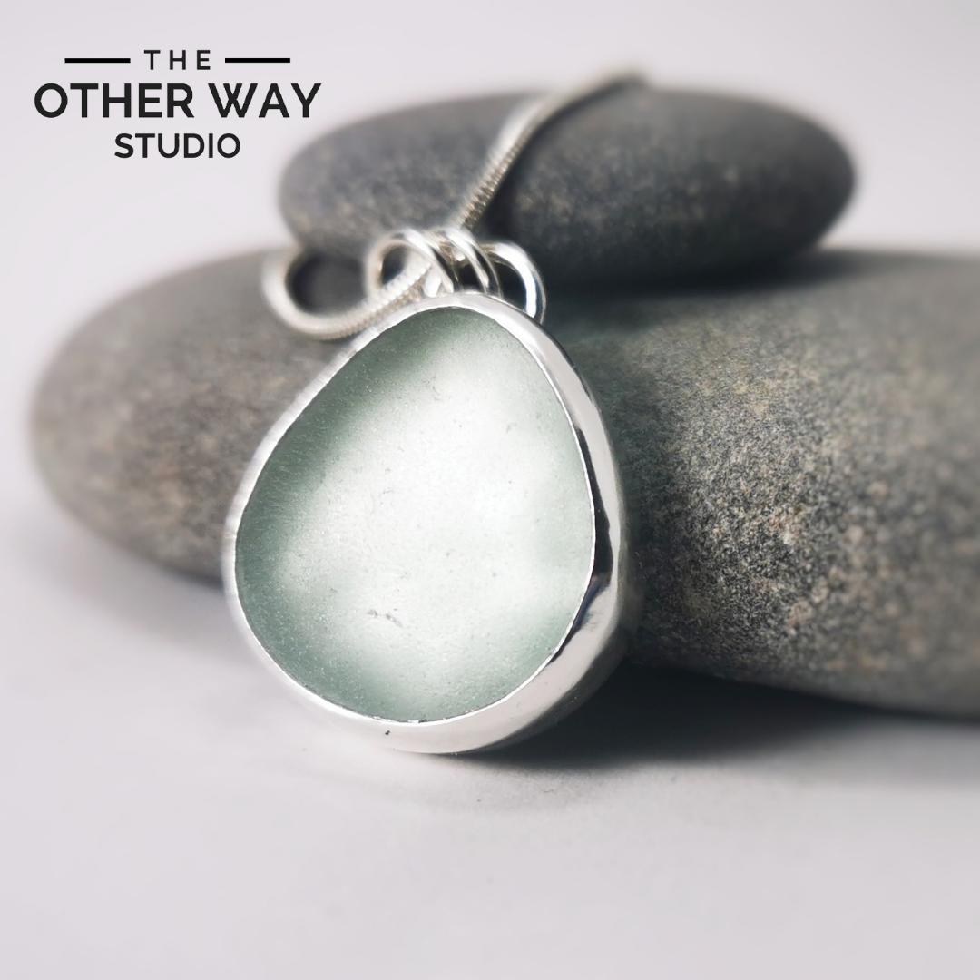 Silver & Sea Glass Pendant & Necklace - Sea Foam Sage