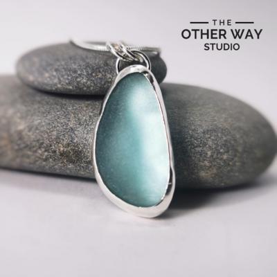 Silver & Sea Glass Pendant & Necklace - Deep Aqua