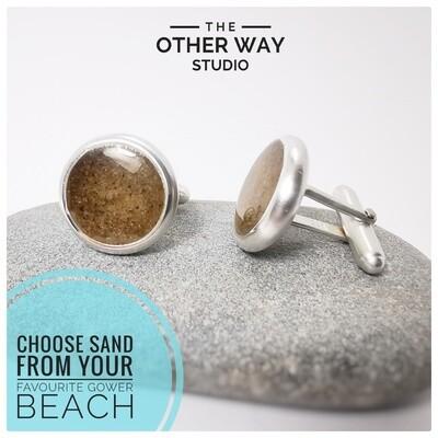 Handmade Silver & Your Favourite Gower Beaches Sand Cufflink Set