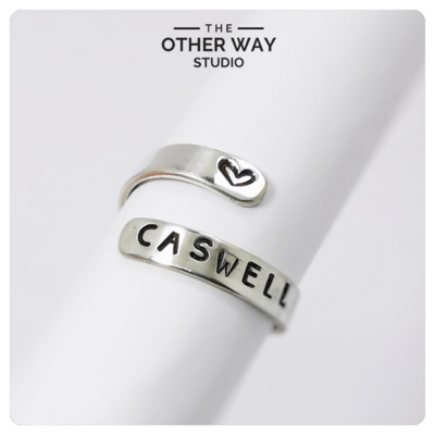Adjustable Size Hand Stamped Ring