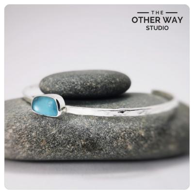 Silver & Sea Glass Open Cuff Bracelet in Light Aqua