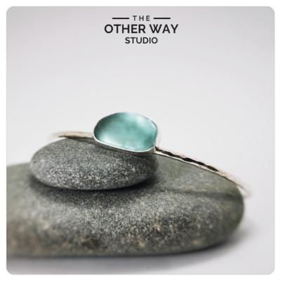 Silver & Sea Glass Open Cuff Bracelet in Turquoise
