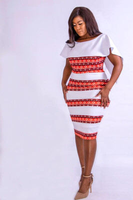 Ntokozo Black, Red and White stripe dress