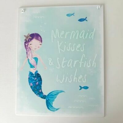 Mermaid Kisses and Starfish Wishes Blue Glittery Metal Sign