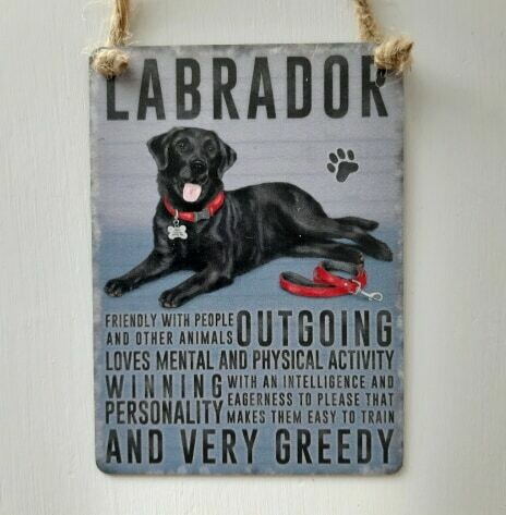 Black Labrador Mini Metal Dog Sign