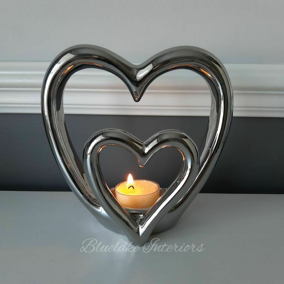 Silver Double Heart Tea Light Candle Holder Free Standing Ornament Gift Boxed