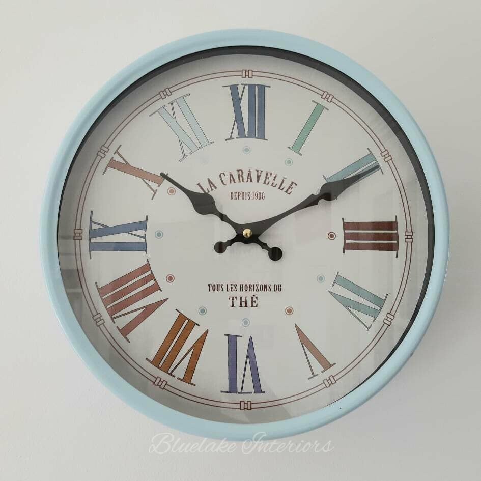 Large Blue Wall Clock With Roman Numerals