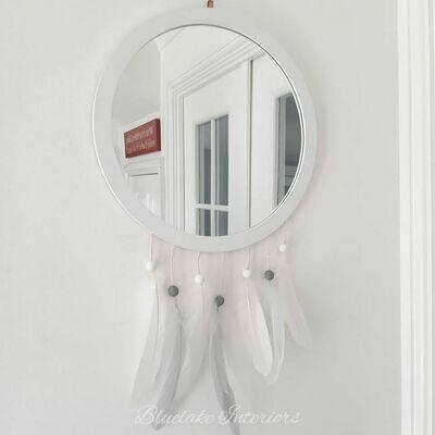 White Dreamcatcher Round Wall Mirror