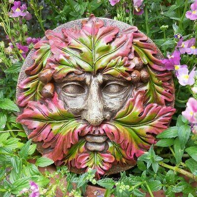 Green Man Round Wall Plaque Garden Decoration