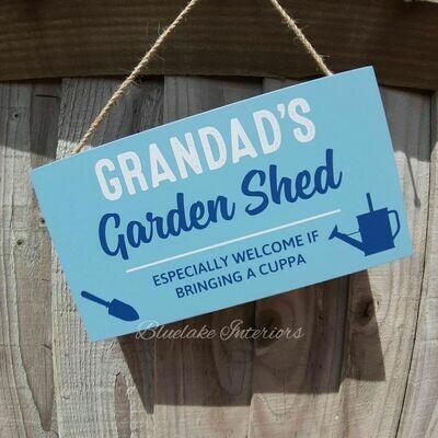 Grandad's Garden Shed Blue Wooden Wall Plaque