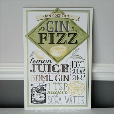 Gin Fizz Wall Plaque Gin Cocktails