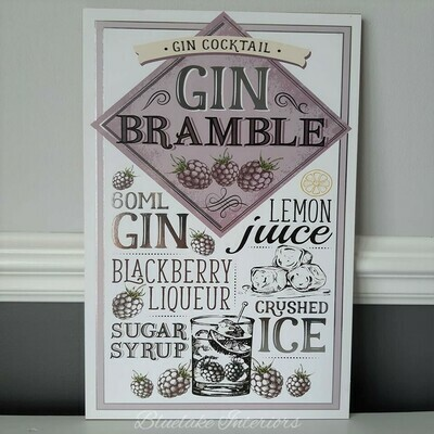 Gin Bramble Wall Plaque Gin Cocktails