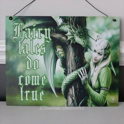 Anne Stokes Kindred Spirits Fairy Tales Do Come True Tin Wall Sign