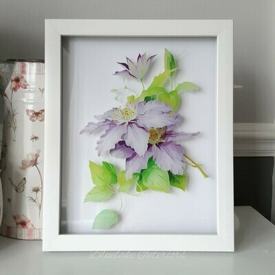Natural Life White Framed Clematis Flower Picture