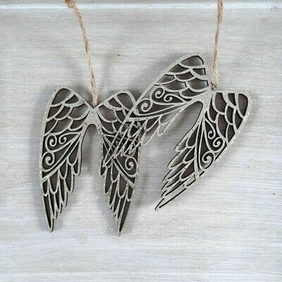 One Pair Gold Glittery Angel Wings Hanging Christmas Decoration