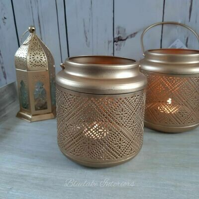 Gold Metal Candle Lantern Intricate Cut Out Detailing