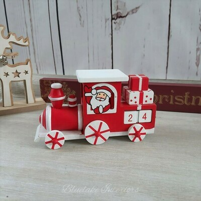 Red & White Christmas Advent Countdown Wooden Train
