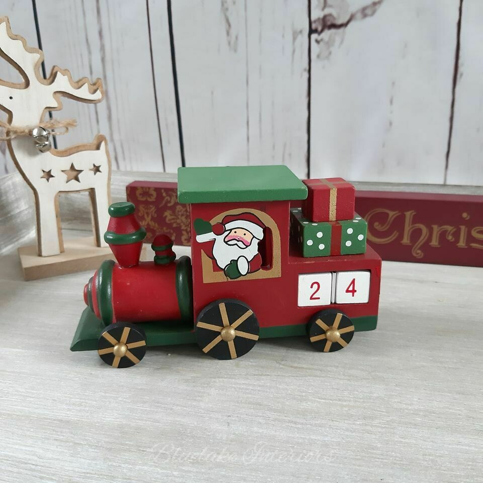 Red & Green Christmas Advent Countdown Wooden Train