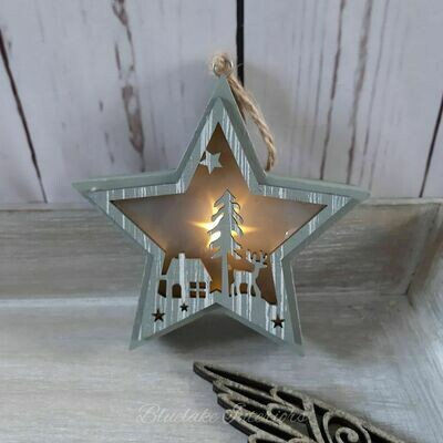 Small Grey Wooden LED Light Up Hanging Christmas Star Decoration