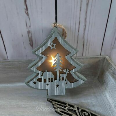 Small Grey Wooden LED Light Up Hanging Christmas Tree Decoration