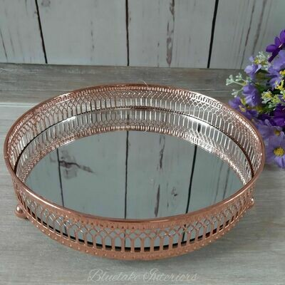 Copper Round Mirror Candle Tray