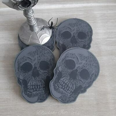 Set Of Four Halloween Skull Coasters