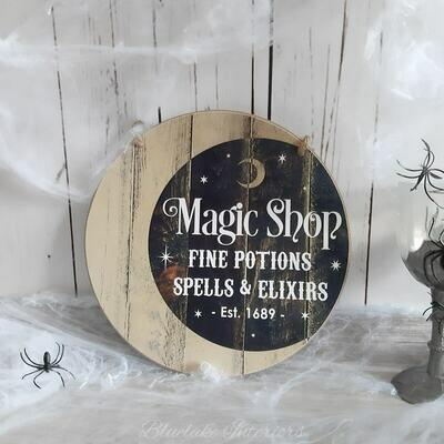 Magic Shop Fine Potions Spells & Elixirs Round Halloween Wall Plaque