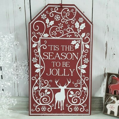 'Tis The Season To Be Jolly Red Christmas Wall Plaque Reindeer Holly