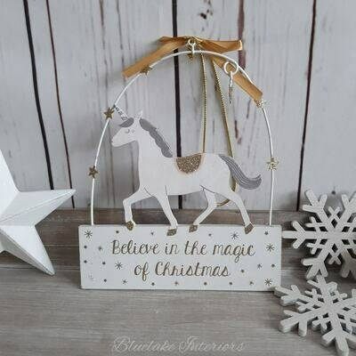 Believe In The Magic of Christmas Glittery Unicorn Plaque with Gold Stars