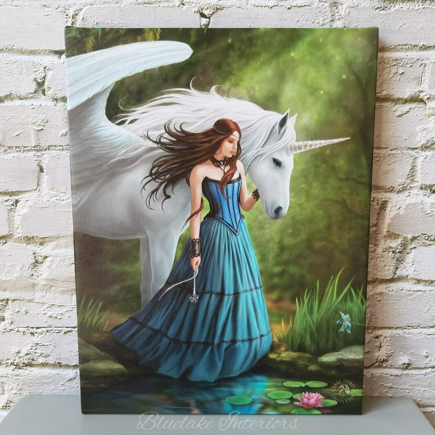Enchanted Pool Unicorn Canvas Picture by Anne Stokes