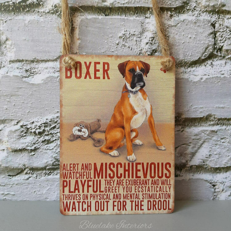 Boxer Mini Metal Hanging Dog Sign Pet Lovers Wall Decoration