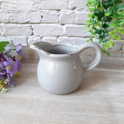 Small Distressed Finish Grey Ceramic Decorative Jug Planter