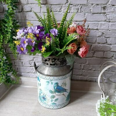 Pretty Blue Bird Design Metal Candle Holder/Vase With Handle