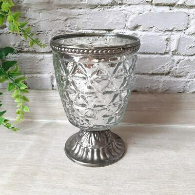 Silver Speck Tealight Votive Holder Vintage Style Candle Pot