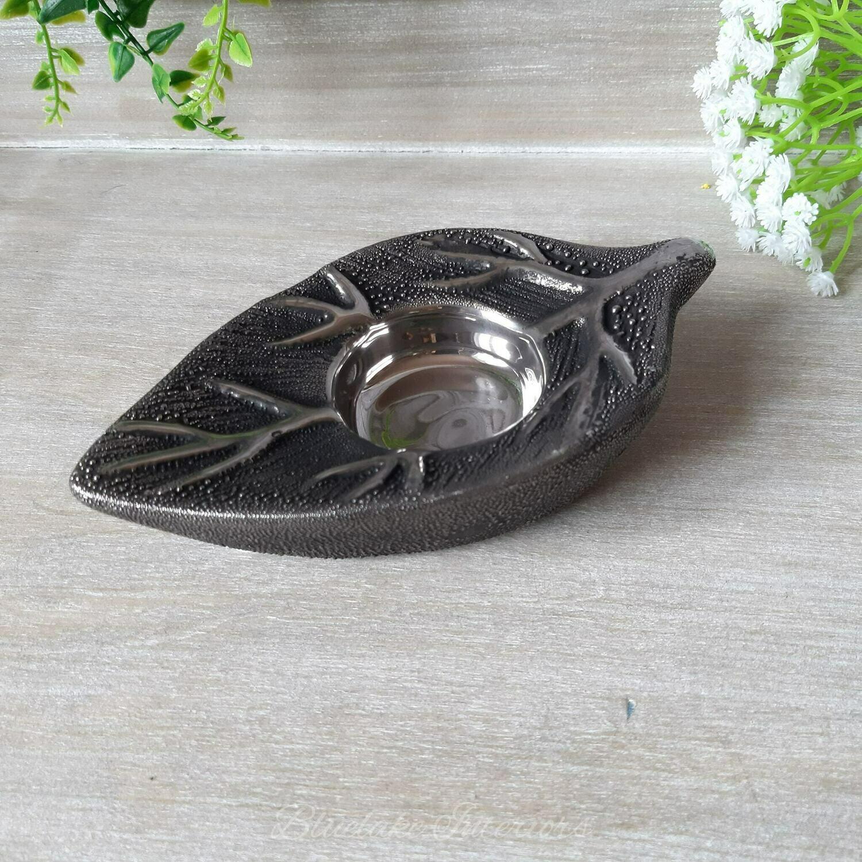Gunmetal Grey Leaf Shaped Tea Light Candle Holder