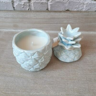 Blue Ceramic Pineapple Shaped Scented Candle